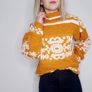 Vintage Mustard Orange Fair Isle Oversized Sweater